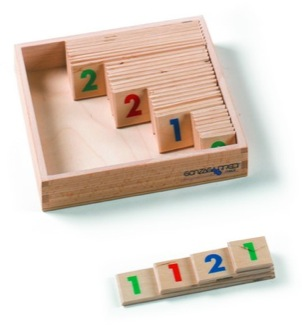 Small Numerals, 1-9,000, Wooden, 1 Set With Box Montessori Materials Mathematics