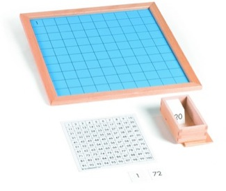 Hundred Board  With Box Of Cards & Plastic Tiles Montessori Materials Mathematics