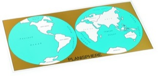 Cardboard Control Chart For Map Of The World, Continents Montessori Materials Geography