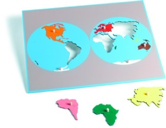 Puzzle Map Of The World With Plexiglass Back In Nienhuis Compatible Colors Montessori Materials Geography