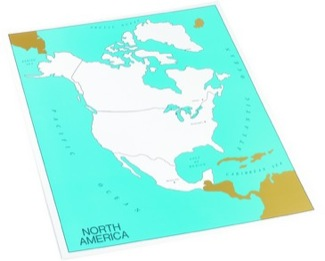 Cardboard Control Chart For Map Of North America, Capitals Montessori Materials Geography
