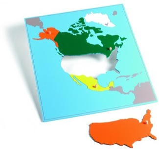 North America Puzzle Map With Plexiglass Back Montessori Materials Geography