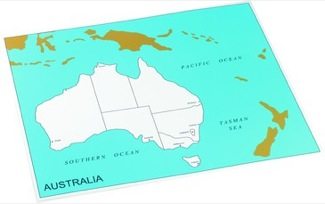 Cardboard Control Chart For Map Of Australia, Capitals  Montessori Materials Geography
