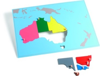 Australia Puzzle Map With Plexiglass Back Montessori Materials Geography
