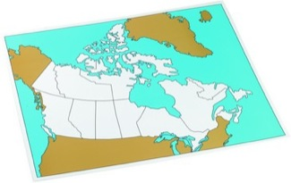 Cardboard Control Chart For Map Of Canada, Unlabelled      Montessori Materials Geography