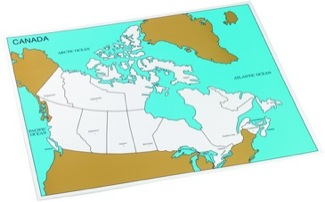 Cardboard Control Chart For Map Of Canada, Capitals Montessori Materials Geography