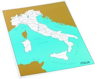 Cardboard Control Chart For Map Of Italy, Regions, Italian   Montessori Materials Geography