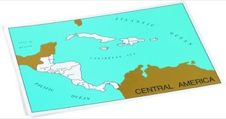 Cardboard Control Chart For Map Of Central. America, Capitals Montessori Materials Geography