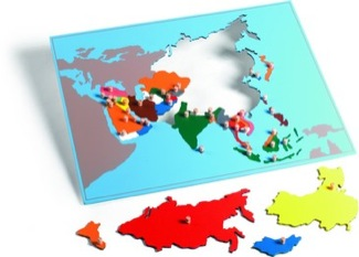 Asia Puzzle Map With Plexiglass Back Montessori Materials Geography