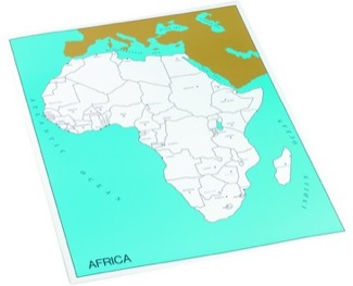 Cardboard Control Chart For Map Of Africa, Capitals Montessori Materials Geography