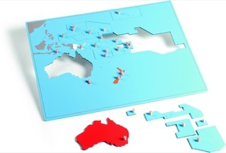 Oceania-Pacific Puzzle Map With Plexiglass Back Montessori Materials Geography